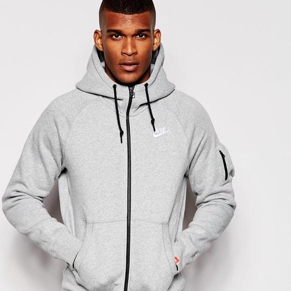 taille 40 7b9cc 2ae33 Nike AW77 Gray Hoodie Jacket Zip Up Arm Pocket
